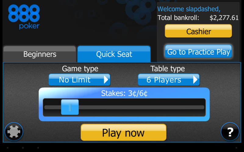 With quick seat, you can set your game and given stake, and you'll be taken to a running game.