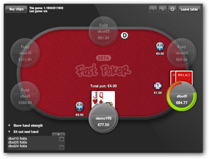 Relaxing with some fast-fold poker. Screenshot based on demo site with free-play bots.