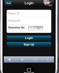 Login screen for the new rush poker on the iPhone