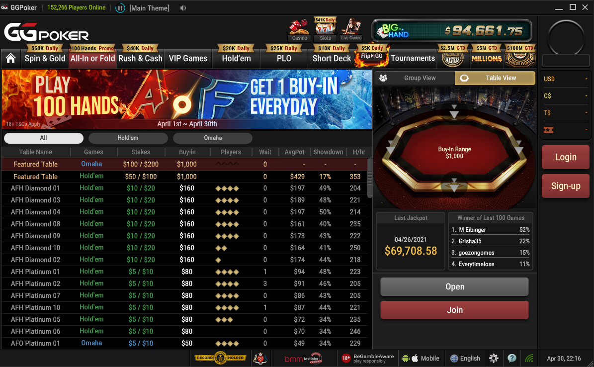 Join All-in or Fold cash game tables for some fast-paced non-stop action