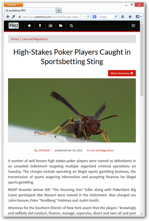 News article view in pokerfuse PRO