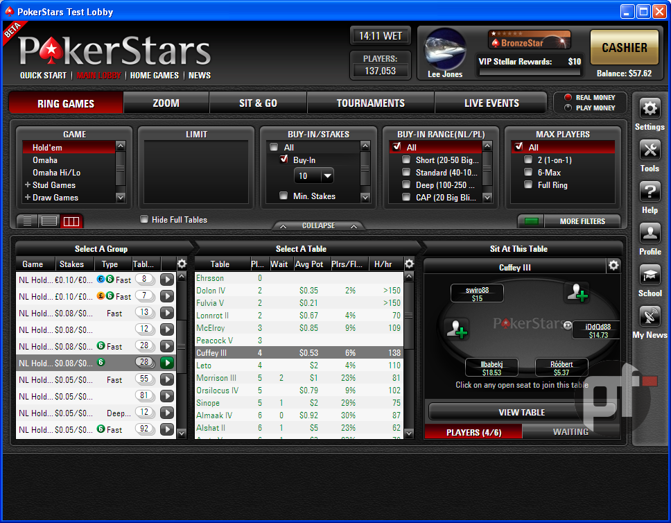 New table view in PokerStars 7.