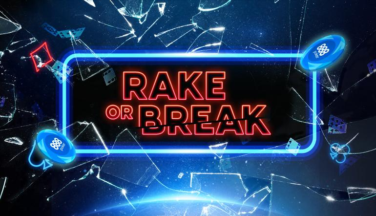 "After successfully running rake-free tournaments and halved buy-in tournaments, 888 has come up with yet another novelty concept called ""Rake or Break"" tournaments that will be running every Sunday beginning March 24."