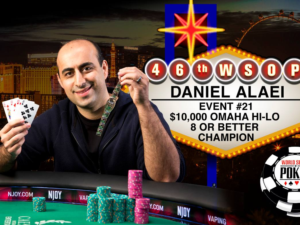 At the age of 30, Alaei wins the $10,000 Omaha Hi-Lo 8 or Better Championship for the second time.