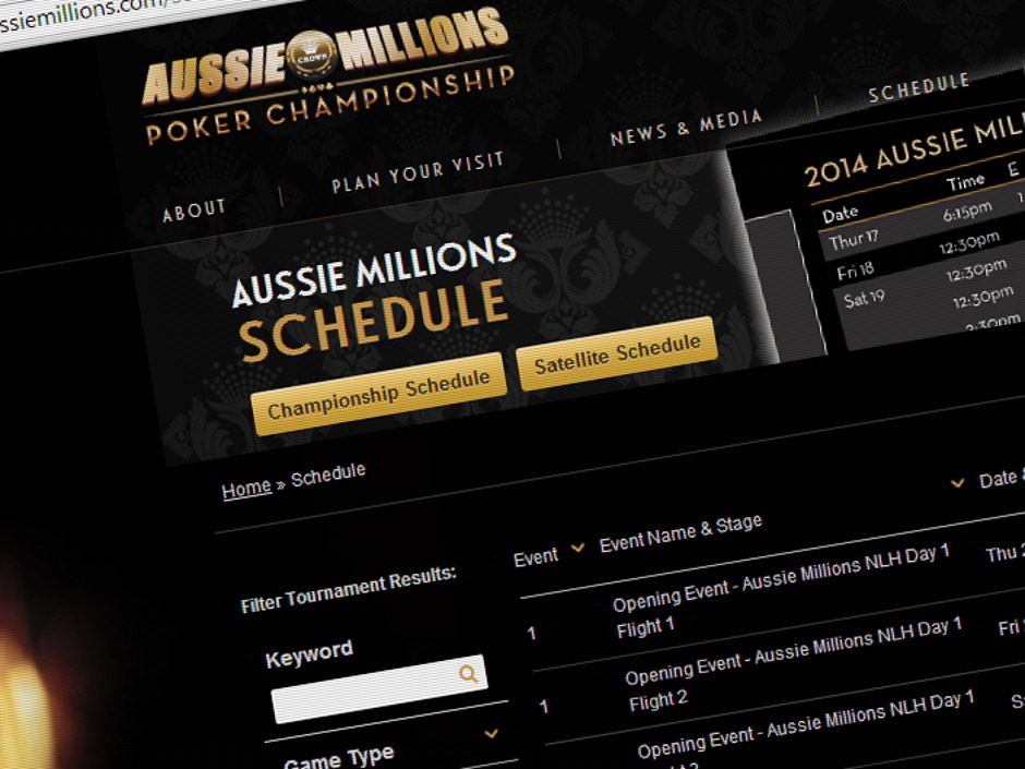 The 2014 Aussie Millions starts on January 23 with a schedule of 20 events running until February 10.