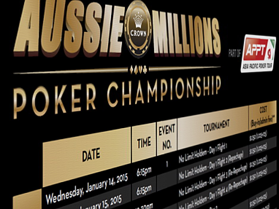 The detailed schedule for the 2015 Aussie Millions tournament series includes three of the top tournaments held each year in the Southern hemisphere.