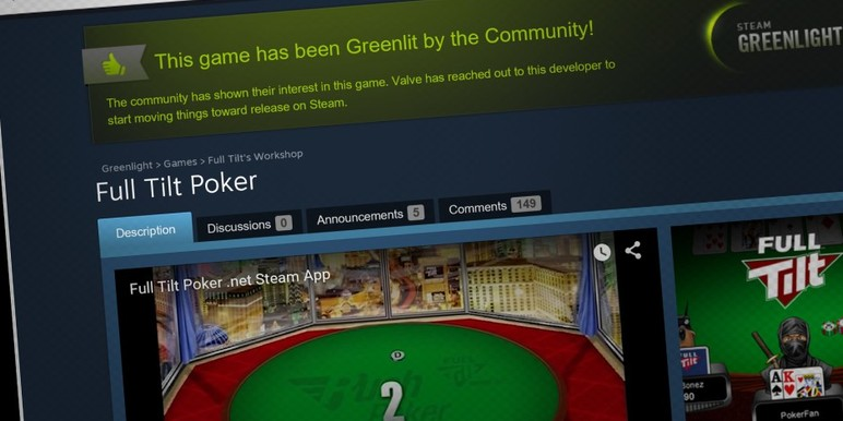 Full Tilt's play money poker app marks the first major online poker brand to enter the Steam market.