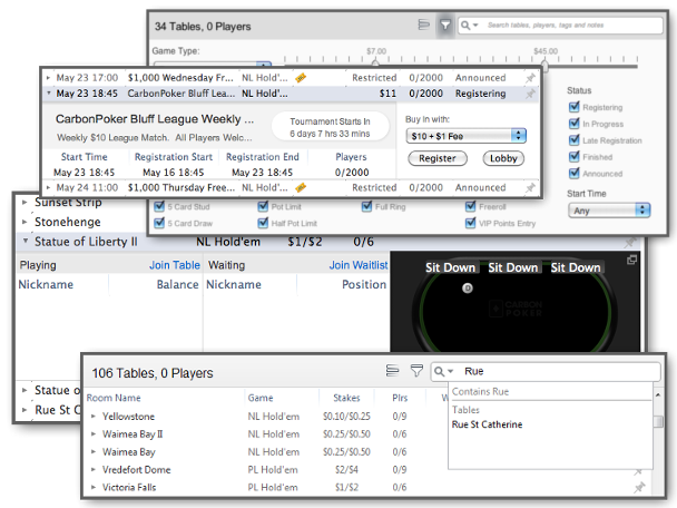 New version six of Carbon Poker's client  brings new lobby and seat selection features.