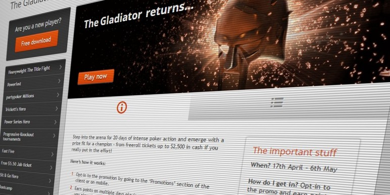 Partypoker's hit cash game promotion Gladiator is back, offering all players up to $2500 in instant cash prizes if they manage to reach high play targets over the next three weeks.
