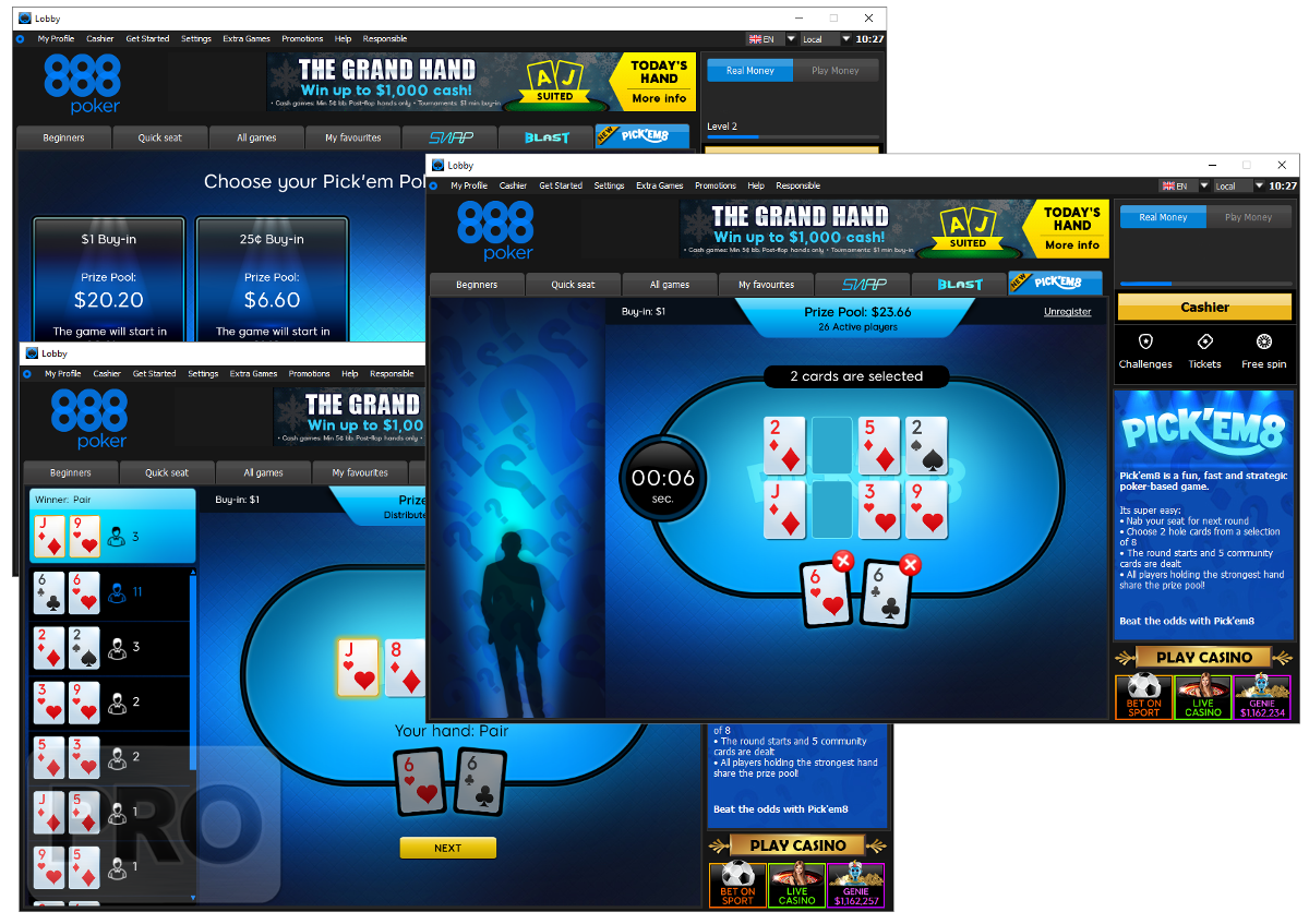 Pick'em8, a new game from 888 previously touted as a new, unique variant of online poker, has gone live for real money in the international online player pool.