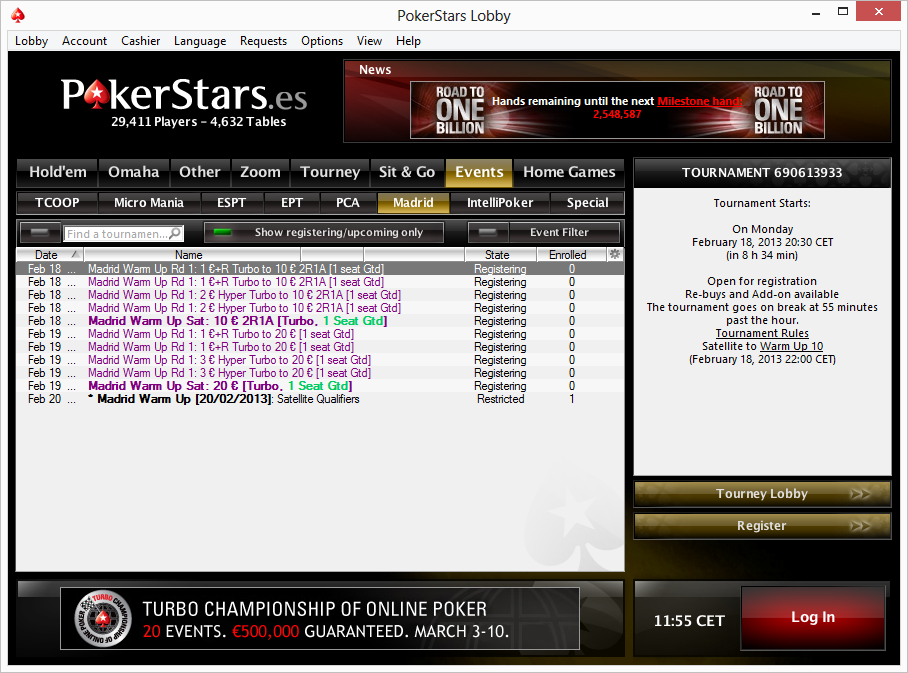 Online poker tournament satellites running on Pokerstars Spain for weekly tournaments live in Casino Gran Madrid.