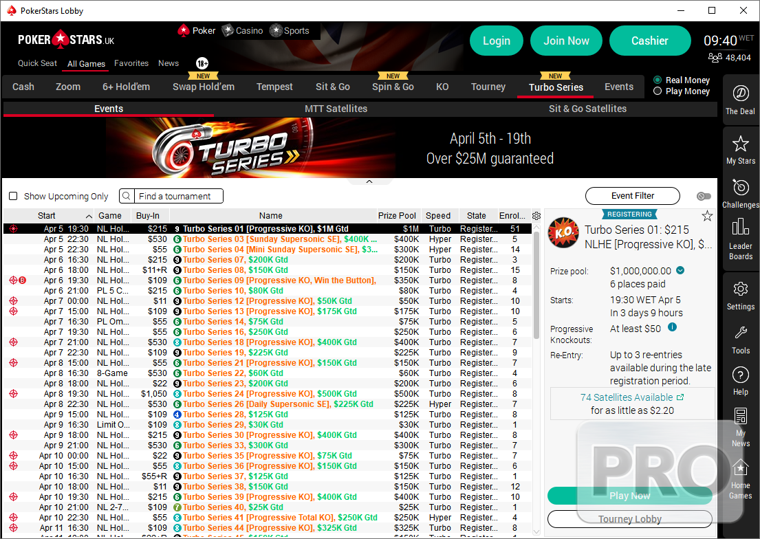 Pokerstars Tournament Schedule