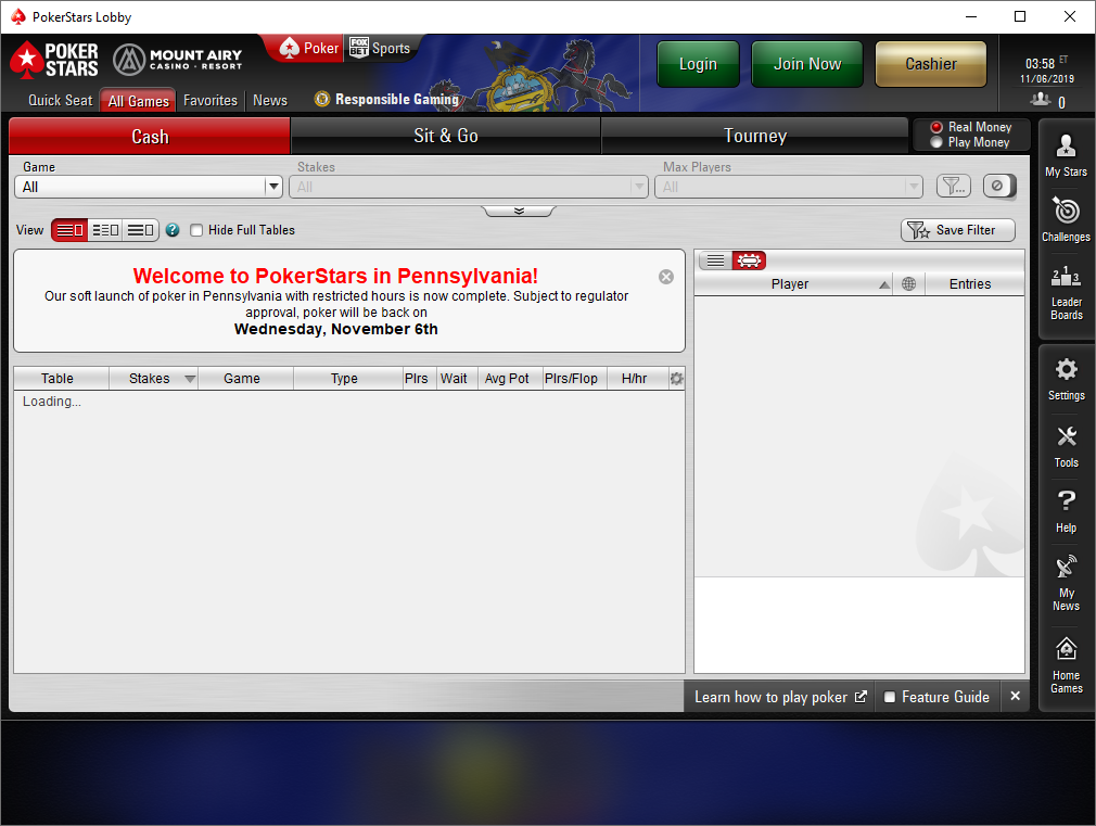 PokerStars dealt its first real money poker hand at 2pm local time on Monday and kept open an eight-hour window.