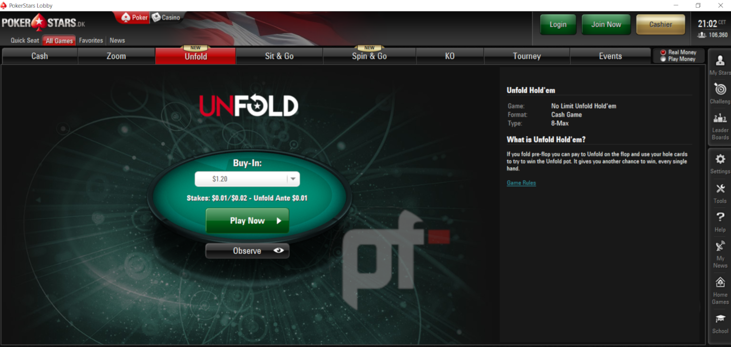 Continuing its trend of developing new exciting twists to traditional Hold'em, PokerStars has launched its third cash game variant of the year, Unfold…