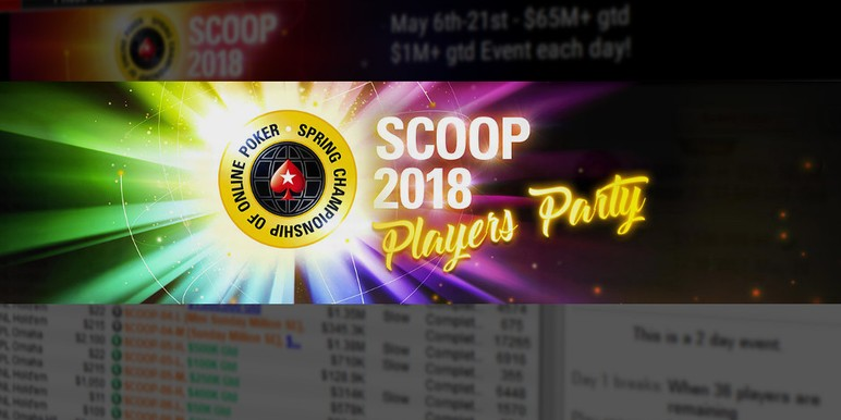 PokerStars has announced SCOOP Players Party, a sort of closing ceremony of SCOOP's 10th anniversary, to start on the last day of the 15-day festival.