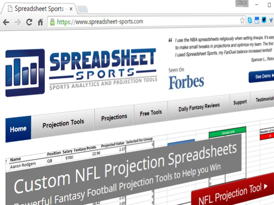dfs tool of the week spreadsheet sports