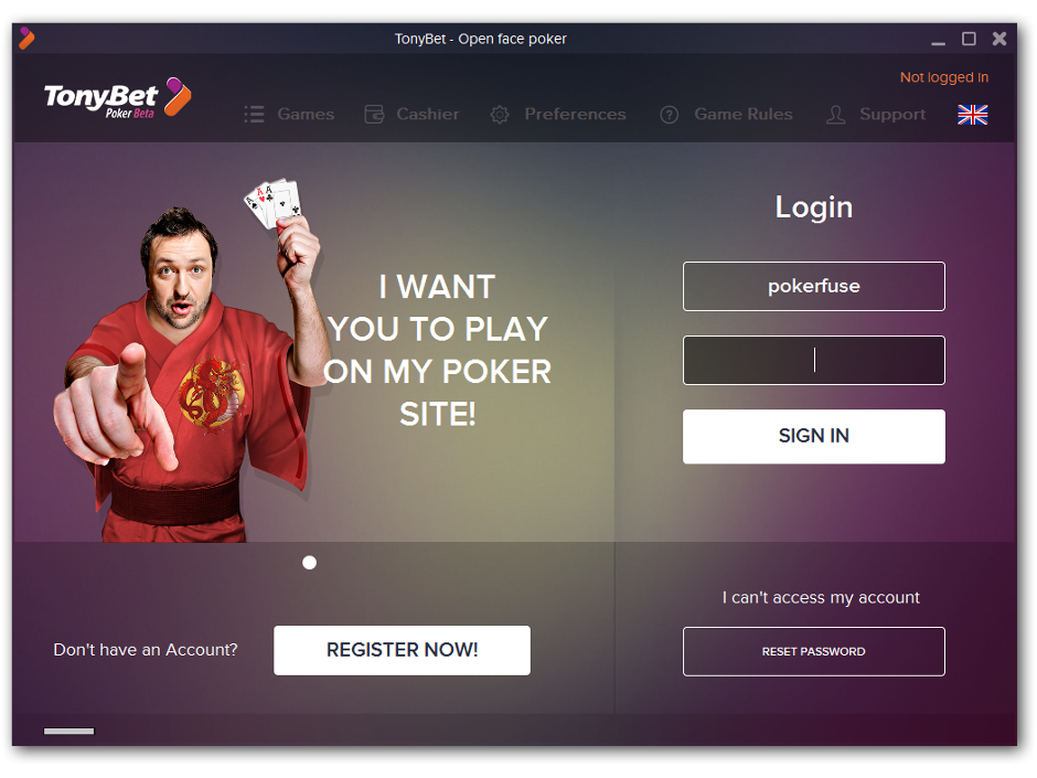 Tony G has launched an online poker room dedicated to Open Face Chinese poker (OFCP). The poker room is available on his gambling site TonyBet.