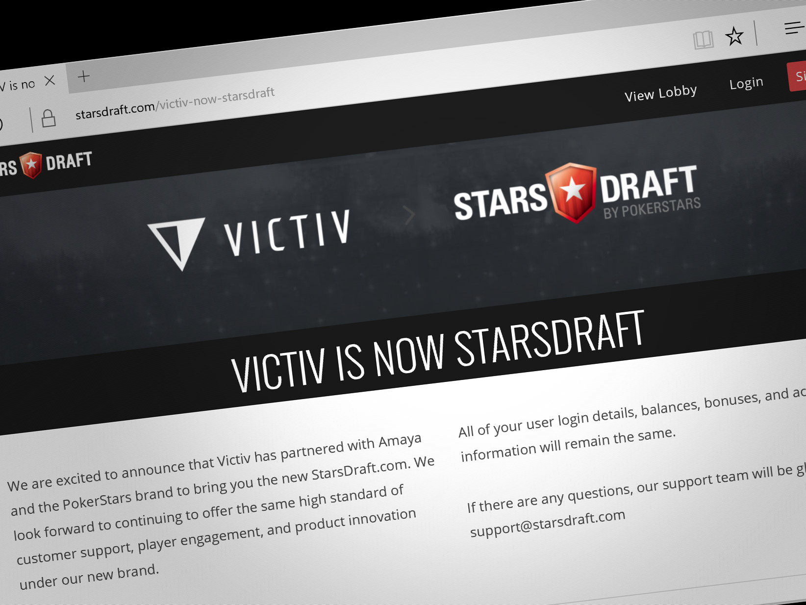 PokerStars launched daily fantasy sports site StarsDraft last week after its parent company Amaya bought the second tier DFS site, Victiv, earlier this year.