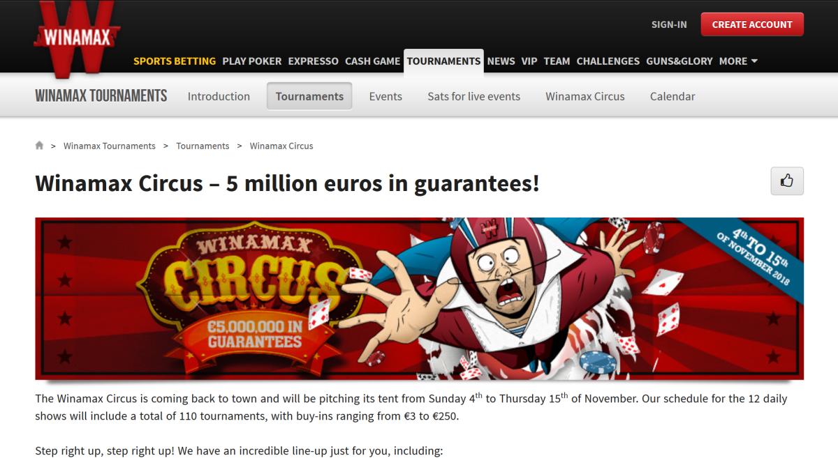 "winamax schedules €5 million guarantee ""winamax circus"" online"